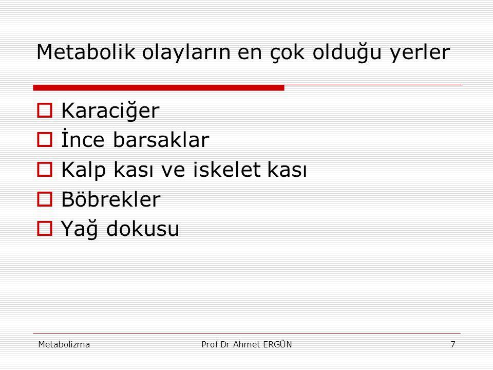 MetabolizmaProf Dr Ahmet ERGÜN7 Metabolik olayların en çok olduğu yerler  Karaciğer  İnce barsaklar  Kalp kası ve iskelet kası  Böbrekler  Yağ do