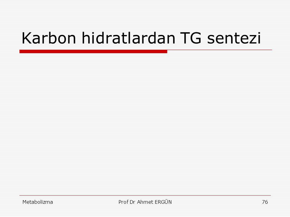 MetabolizmaProf Dr Ahmet ERGÜN76 Karbon hidratlardan TG sentezi