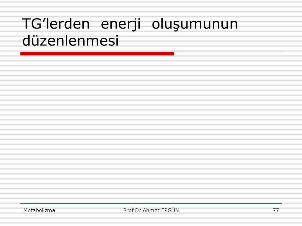 MetabolizmaProf Dr Ahmet ERGÜN77 TG'lerden enerji oluşumunun düzenlenmesi
