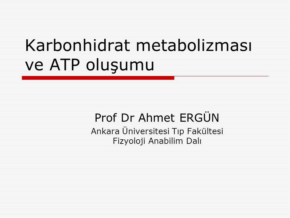 Karbonhidrat metabolizması ve ATP oluşumu Prof Dr Ahmet ERGÜN Ankara Üniversitesi Tıp Fakültesi Fizyoloji Anabilim Dalı