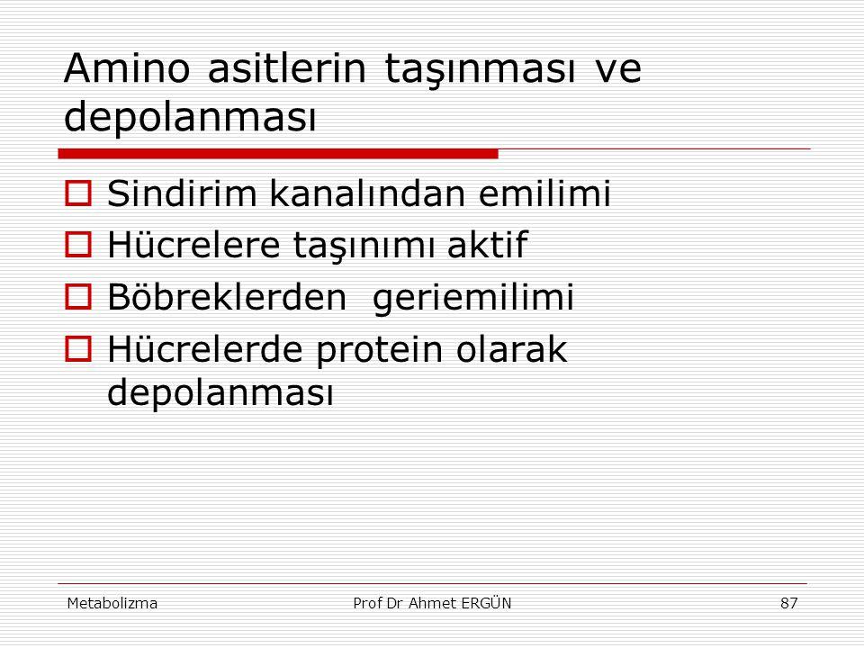 MetabolizmaProf Dr Ahmet ERGÜN87 Amino asitlerin taşınması ve depolanması  Sindirim kanalından emilimi  Hücrelere taşınımı aktif  Böbreklerden geri