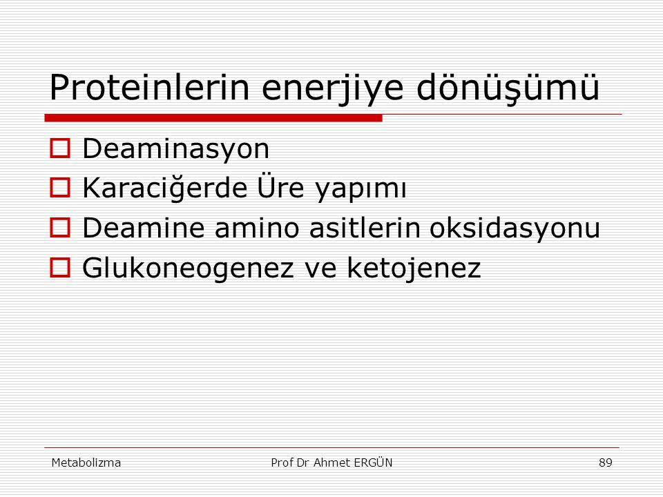 MetabolizmaProf Dr Ahmet ERGÜN89 Proteinlerin enerjiye dönüşümü  Deaminasyon  Karaciğerde Üre yapımı  Deamine amino asitlerin oksidasyonu  Glukone
