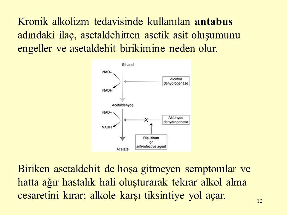 12 Kronik alkolizm tedavisinde kullanılan antabus adındaki ilaç, asetaldehitten asetik asit oluşumunu engeller ve asetaldehit birikimine neden olur. B
