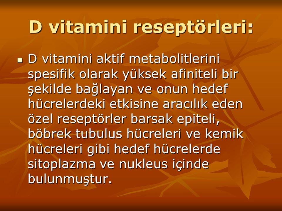 D vitamini reseptörleri: D vitamini aktif metabolitlerini spesifik olarak yüksek afiniteli bir şekilde bağlayan ve onun hedef hücrelerdeki etkisine ar