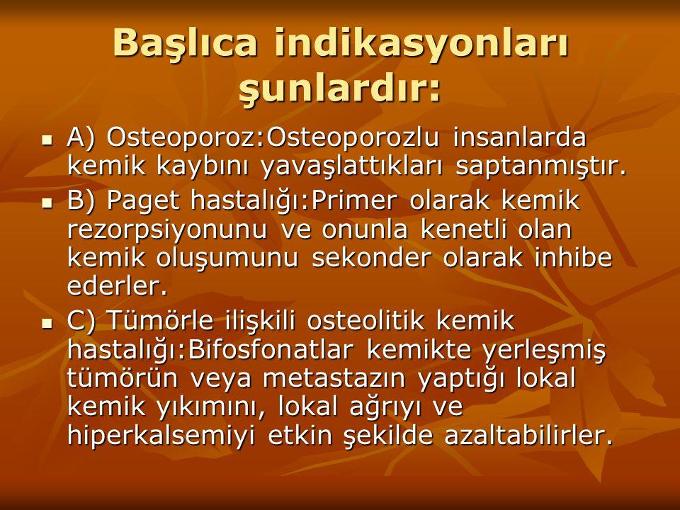 Başlıca indikasyonları şunlardır: A) Osteoporoz:Osteoporozlu insanlarda kemik kaybını yavaşlattıkları saptanmıştır. A) Osteoporoz:Osteoporozlu insanla