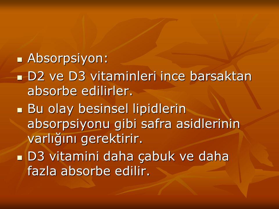 Absorpsiyon: Absorpsiyon: D2 ve D3 vitaminleri ince barsaktan absorbe edilirler. D2 ve D3 vitaminleri ince barsaktan absorbe edilirler. Bu olay besins