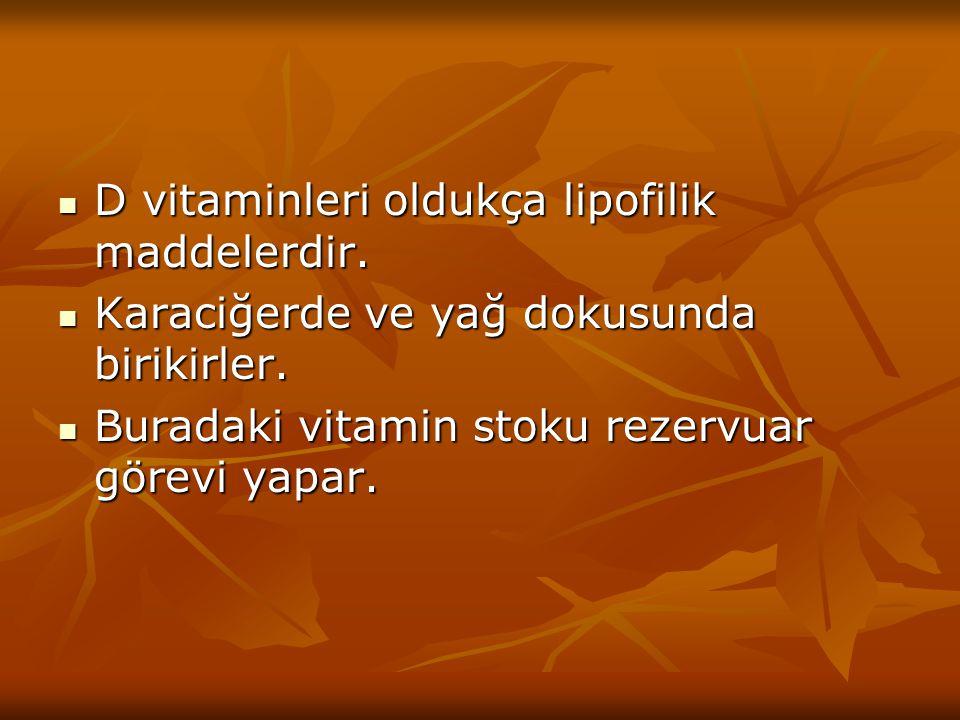 D vitaminleri oldukça lipofilik maddelerdir. D vitaminleri oldukça lipofilik maddelerdir. Karaciğerde ve yağ dokusunda birikirler. Karaciğerde ve yağ