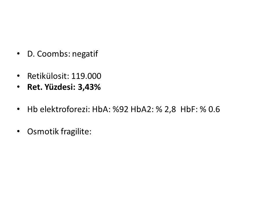 D.Coombs: negatif Retikülosit: 119.000 Ret.