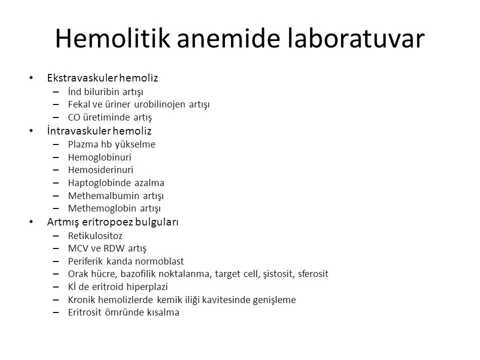 Hemolitik anemide laboratuvar Ekstravaskuler hemoliz – İnd biluribin artışı – Fekal ve üriner urobilinojen artışı – CO üretiminde artış İntravaskuler hemoliz – Plazma hb yükselme – Hemoglobinuri – Hemosiderinuri – Haptoglobinde azalma – Methemalbumin artışı – Methemoglobin artışı Artmış eritropoez bulguları – Retikulositoz – MCV ve RDW artış – Periferik kanda normoblast – Orak hücre, bazofilik noktalanma, target cell, şistosit, sferosit – Kİ de eritroid hiperplazi – Kronik hemolizlerde kemik iliği kavitesinde genişleme – Eritrosit ömründe kısalma