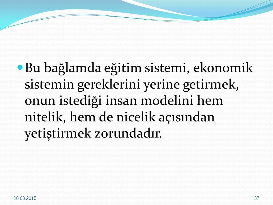 Bu bağlamda eğitim sistemi, ekonomik sistemin gereklerini yerine getirmek, onun istediği insan modelini hem nitelik, hem de nicelik açısından yetiştir