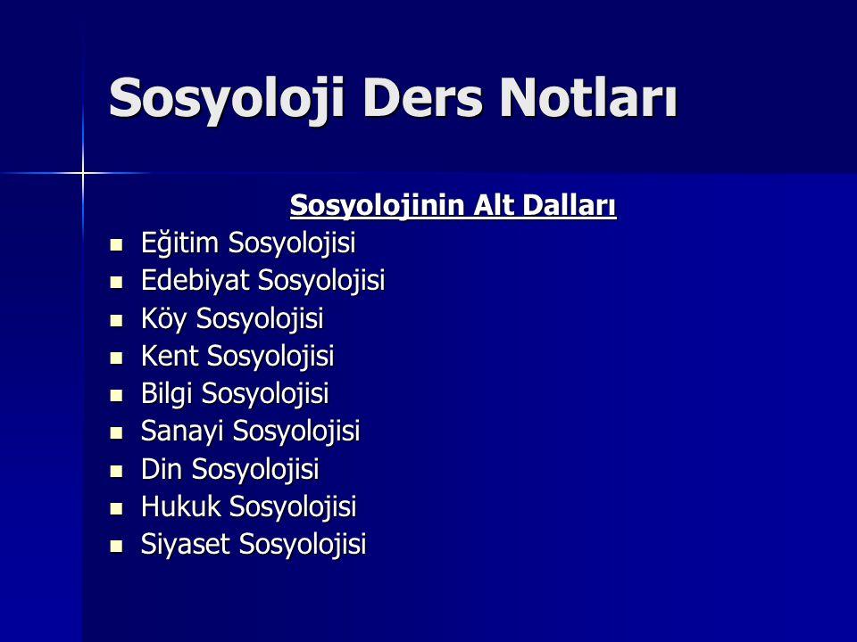 Sosyoloji Ders Notları Sosyolojinin Alt Dalları Eğitim Sosyolojisi Eğitim Sosyolojisi Edebiyat Sosyolojisi Edebiyat Sosyolojisi Köy Sosyolojisi Köy So