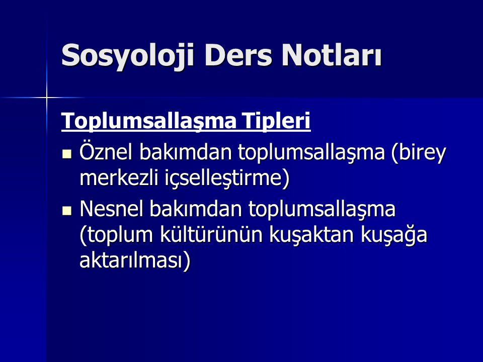 Sosyoloji Ders Notları Toplumsallaşma Tipleri Öznel bakımdan toplumsallaşma (birey merkezli içselleştirme) Öznel bakımdan toplumsallaşma (birey merkez