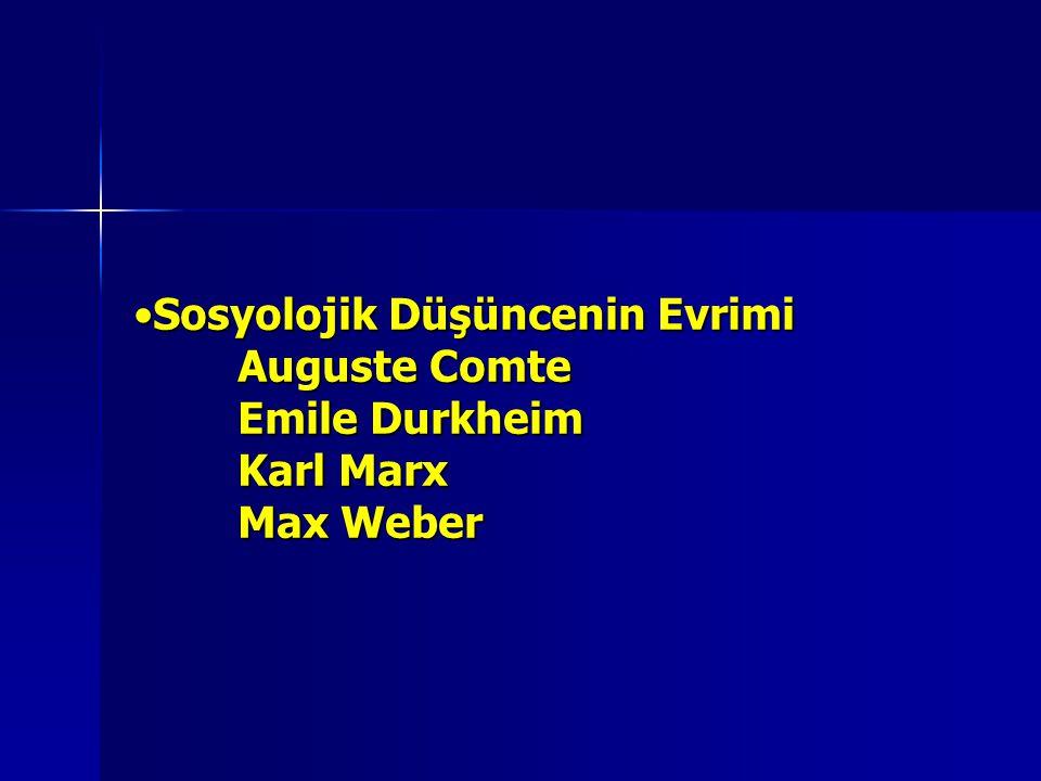 Sosyolojik Düşüncenin Evrimi Auguste Comte Emile Durkheim Karl Marx Max WeberSosyolojik Düşüncenin Evrimi Auguste Comte Emile Durkheim Karl Marx Max W