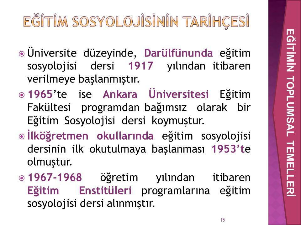  Üniversite düzeyinde, Darülfünunda eğitim sosyolojisi dersi 1917 yılından itibaren verilmeye başlanmıştır.  1965'te ise Ankara Üniversitesi Eğitim