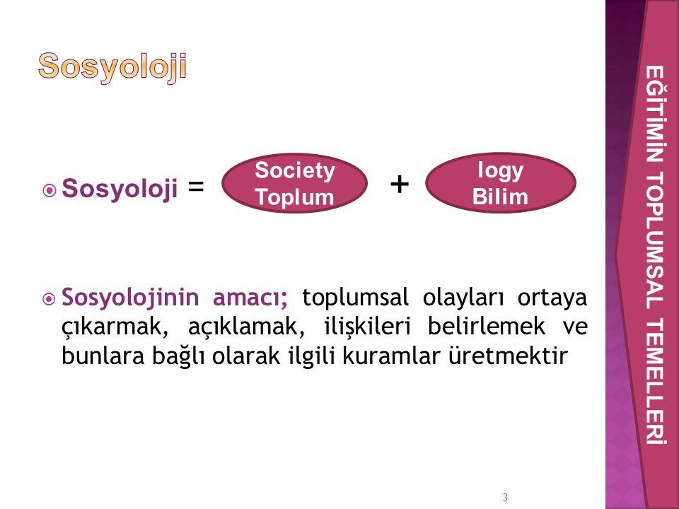  Sosyoloji = +  Sosyolojinin amacı; toplumsal olayları ortaya çıkarmak, açıklamak, ilişkileri belirlemek ve bunlara bağlı olarak ilgili kuramlar üre