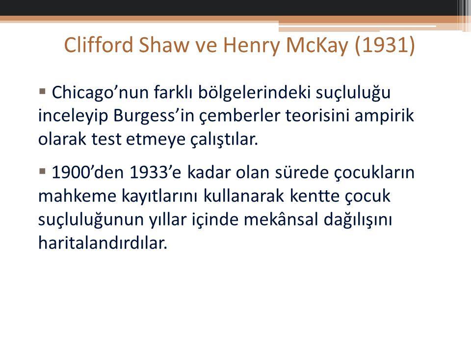 Clifford Shaw ve Henry McKay (1931)  Chicago'nun farklı bölgelerindeki suçluluğu inceleyip Burgess'in çemberler teorisini ampirik olarak test etmeye çalıştılar.