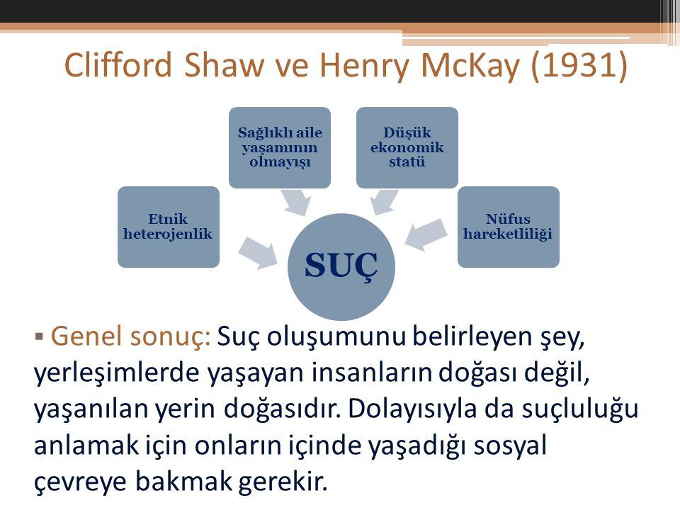 Clifford Shaw ve Henry McKay (1931)  Genel sonuç: Suç oluşumunu belirleyen şey, yerleşimlerde yaşayan insanların doğası değil, yaşanılan yerin doğasıdır.