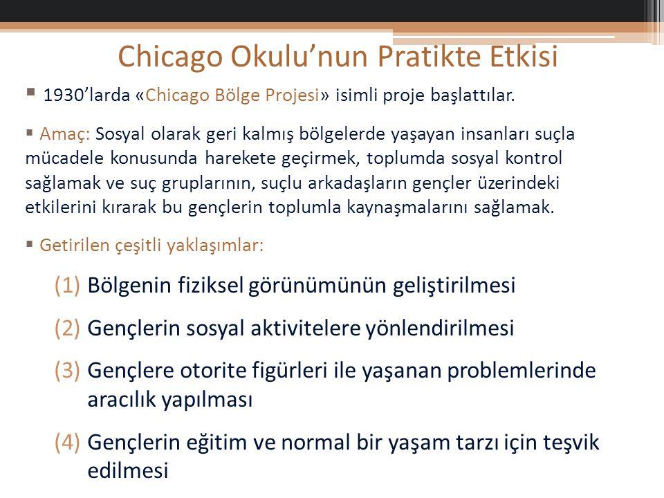 Chicago Okulu'nun Pratikte Etkisi  1930'larda «Chicago Bölge Projesi» isimli proje başlattılar.