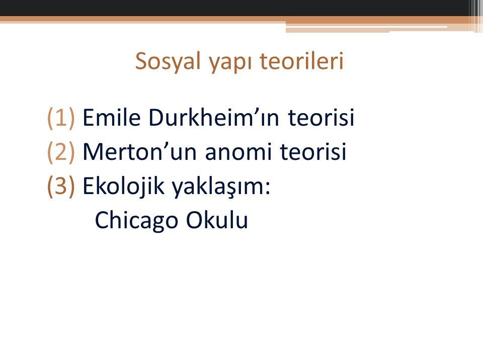 (1) Emile Durkheim'ın teorisi (2) Merton'un anomi teorisi (3) Ekolojik yaklaşım: Chicago Okulu Sosyal yapı teorileri