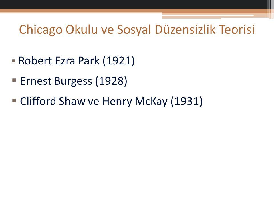 Chicago Okulu ve Sosyal Düzensizlik Teorisi  Robert Ezra Park (1921)  Ernest Burgess (1928)  Clifford Shaw ve Henry McKay (1931)