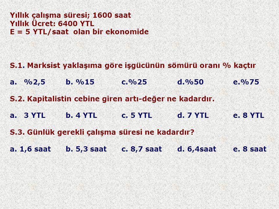 Yıllık çalışma süresi; 1600 saat Yıllık Ücret: 6400 YTL E = 5 YTL/saat olan bir ekonomide S.1.