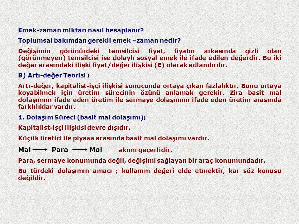 FirmaSabit Ser.c Değişken Ser. v Sömürü Or.