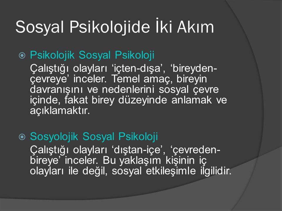Sosyal Psikolojide İki Akım  Psikolojik Sosyal Psikoloji Çalıştığı olayları 'içten-dışa', 'bireyden- çevreye' inceler.