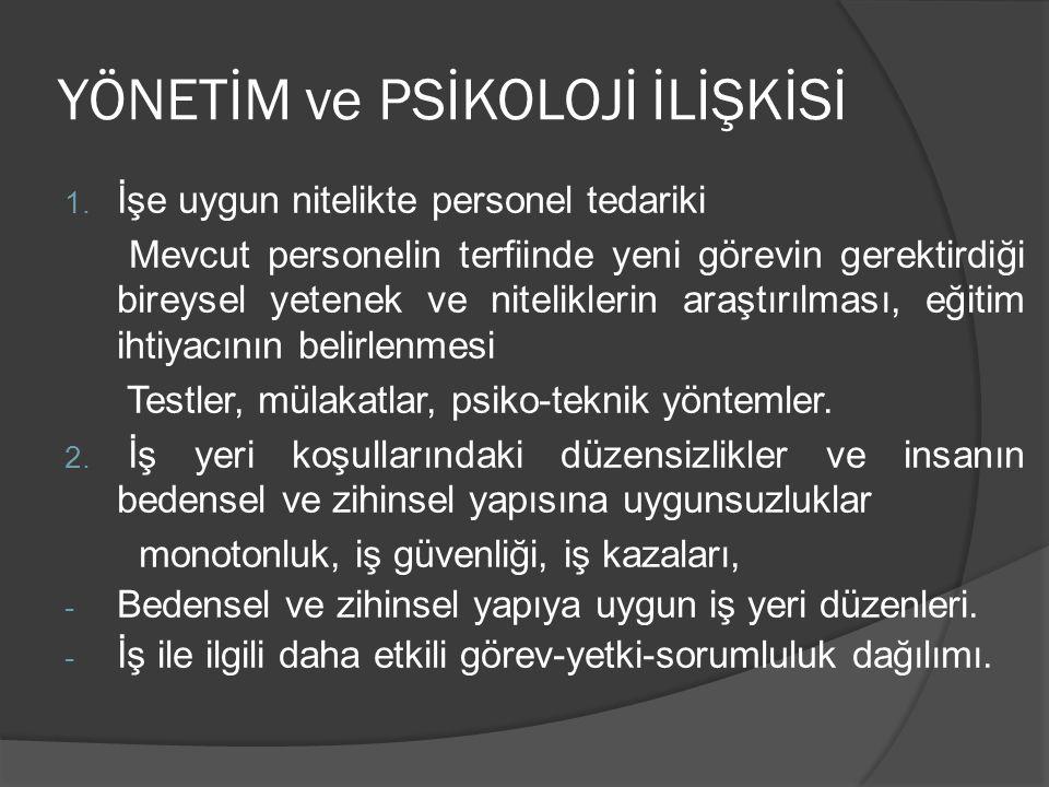 YÖNETİM ve PSİKOLOJİ İLİŞKİSİ 1.