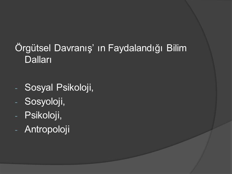 Örgütsel Davranış' ın Faydalandığı Bilim Dalları - Sosyal Psikoloji, - Sosyoloji, - Psikoloji, - Antropoloji