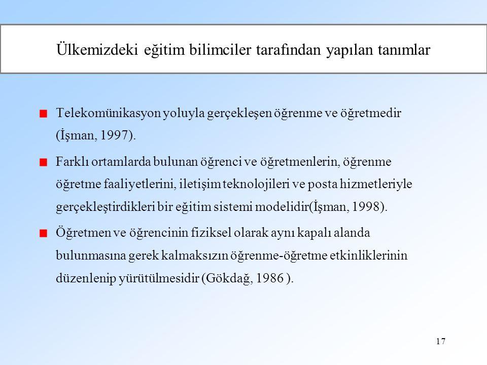 17 Ülkemizdeki eğitim bilimciler tarafından yapılan tanımlar Telekomünikasyon yoluyla gerçekleşen öğrenme ve öğretmedir (İşman, 1997). Farklı ortamlar