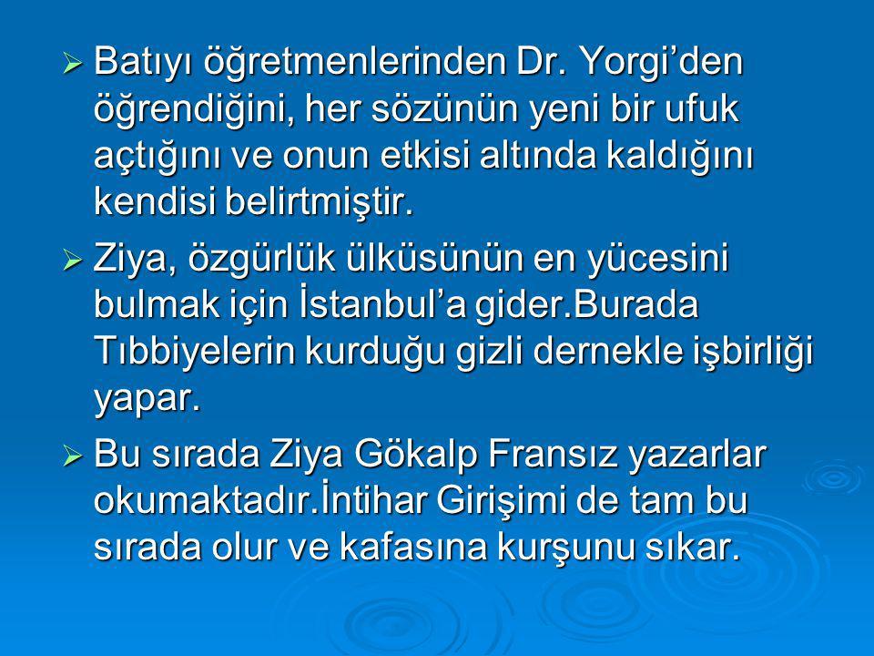  Batıyı öğretmenlerinden Dr. Yorgi'den öğrendiğini, her sözünün yeni bir ufuk açtığını ve onun etkisi altında kaldığını kendisi belirtmiştir.  Ziya,
