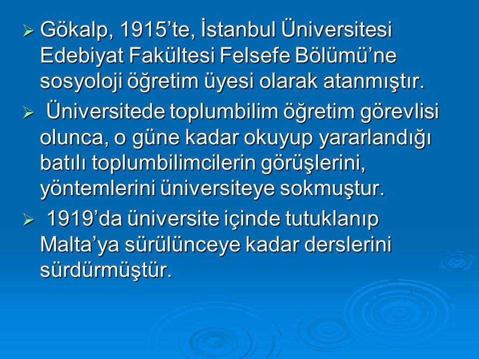  Gökalp, 1915'te, İstanbul Üniversitesi Edebiyat Fakültesi Felsefe Bölümü'ne sosyoloji öğretim üyesi olarak atanmıştır.  Üniversitede toplumbilim öğ