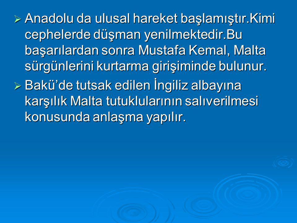  Anadolu da ulusal hareket başlamıştır.Kimi cephelerde düşman yenilmektedir.Bu başarılardan sonra Mustafa Kemal, Malta sürgünlerini kurtarma girişiminde bulunur.