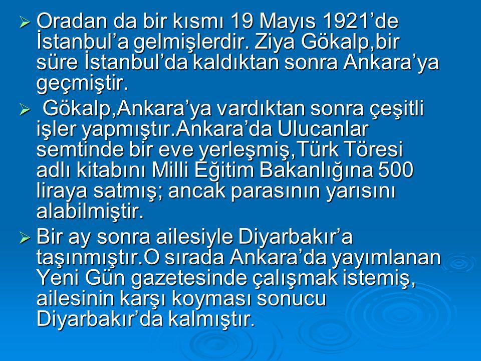  Oradan da bir kısmı 19 Mayıs 1921'de İstanbul'a gelmişlerdir. Ziya Gökalp,bir süre İstanbul'da kaldıktan sonra Ankara'ya geçmiştir.  Gökalp,Ankara'