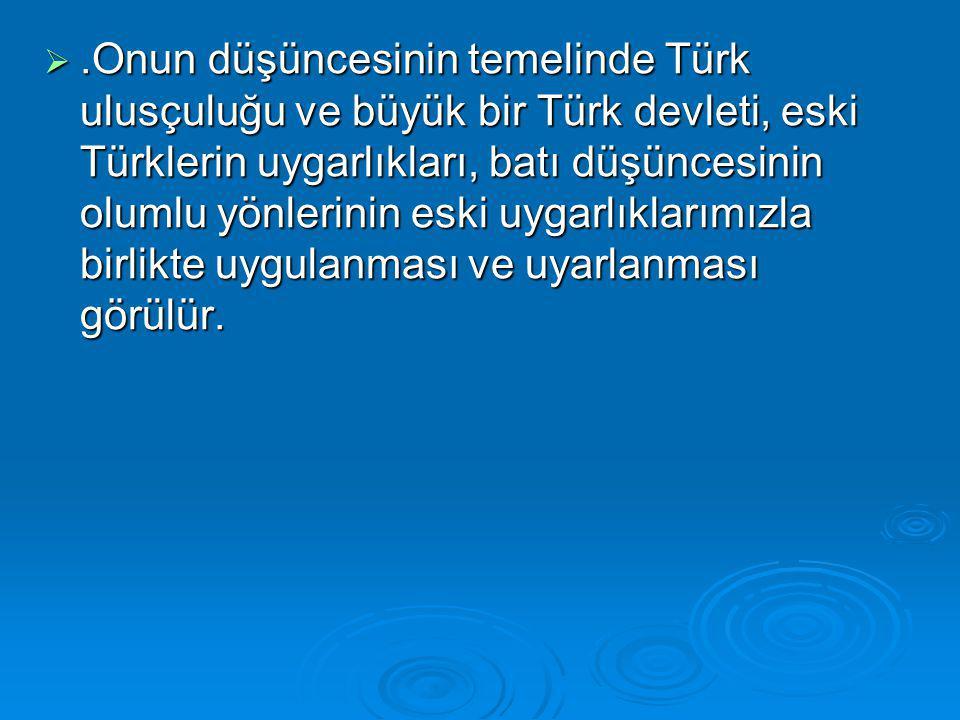 .Onun düşüncesinin temelinde Türk ulusçuluğu ve büyük bir Türk devleti, eski Türklerin uygarlıkları, batı düşüncesinin olumlu yönlerinin eski uygarlıklarımızla birlikte uygulanması ve uyarlanması görülür.