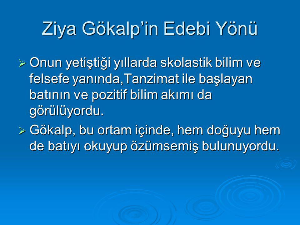 Ziya Gökalp'in Edebi Yönü  Onun yetiştiği yıllarda skolastik bilim ve felsefe yanında,Tanzimat ile başlayan batının ve pozitif bilim akımı da görülüy