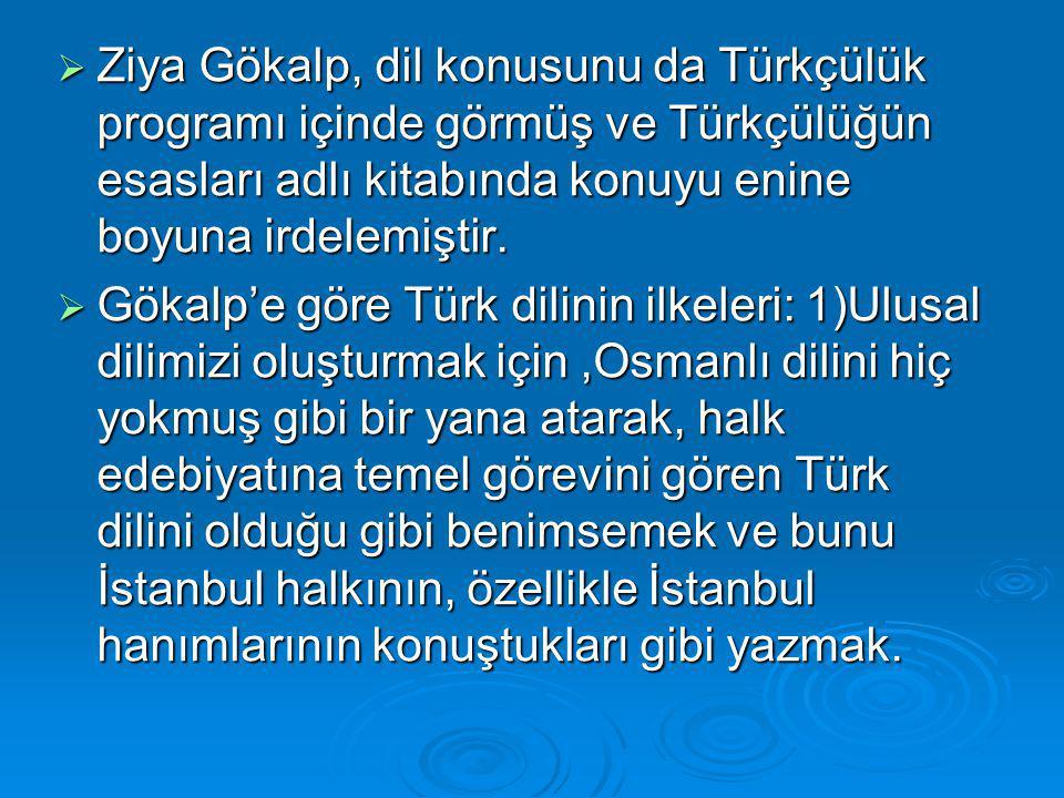  Ziya Gökalp, dil konusunu da Türkçülük programı içinde görmüş ve Türkçülüğün esasları adlı kitabında konuyu enine boyuna irdelemiştir.  Gökalp'e gö