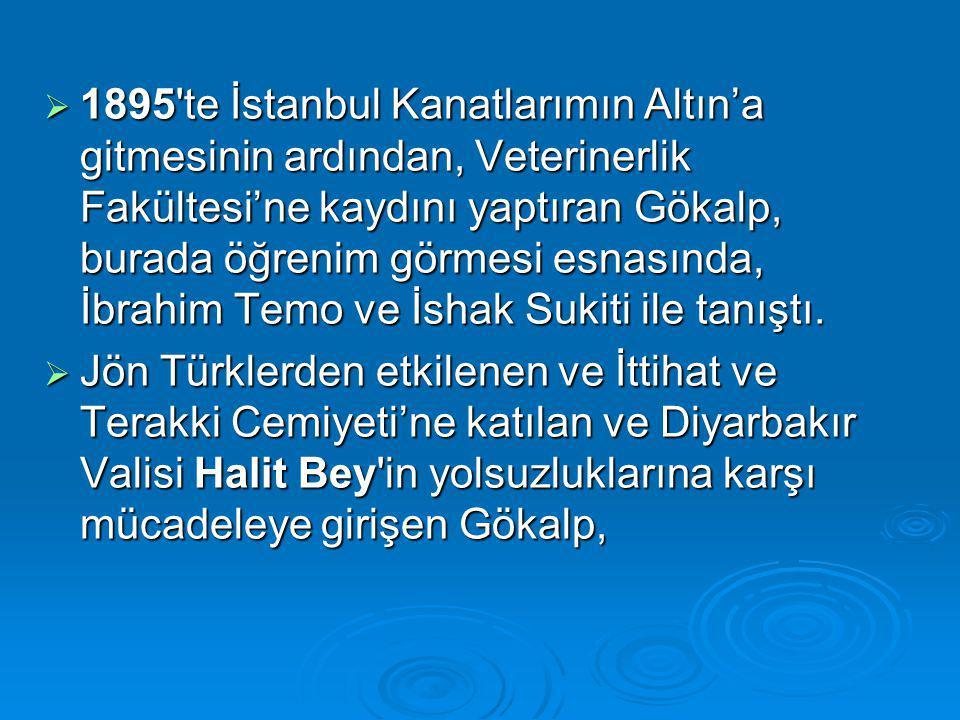  1895 te İstanbul Kanatlarımın Altın'a gitmesinin ardından, Veterinerlik Fakültesi'ne kaydını yaptıran Gökalp, burada öğrenim görmesi esnasında, İbrahim Temo ve İshak Sukiti ile tanıştı.