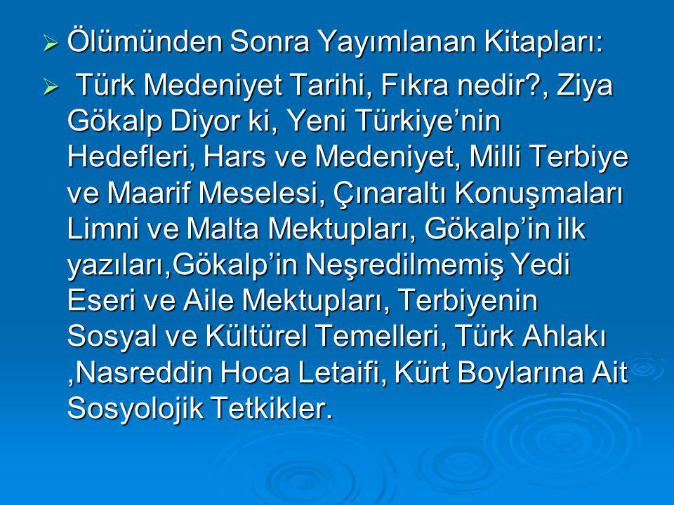 Ölümünden Sonra Yayımlanan Kitapları:  Türk Medeniyet Tarihi, Fıkra nedir?, Ziya Gökalp Diyor ki, Yeni Türkiye'nin Hedefleri, Hars ve Medeniyet, Mi