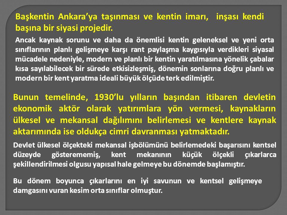 Başkentin Ankara'ya taşınması ve kentin imarı, inşası kendi başına bir siyasi projedir. Ancak kaynak sorunu ve daha da önemlisi kentin geleneksel ve y