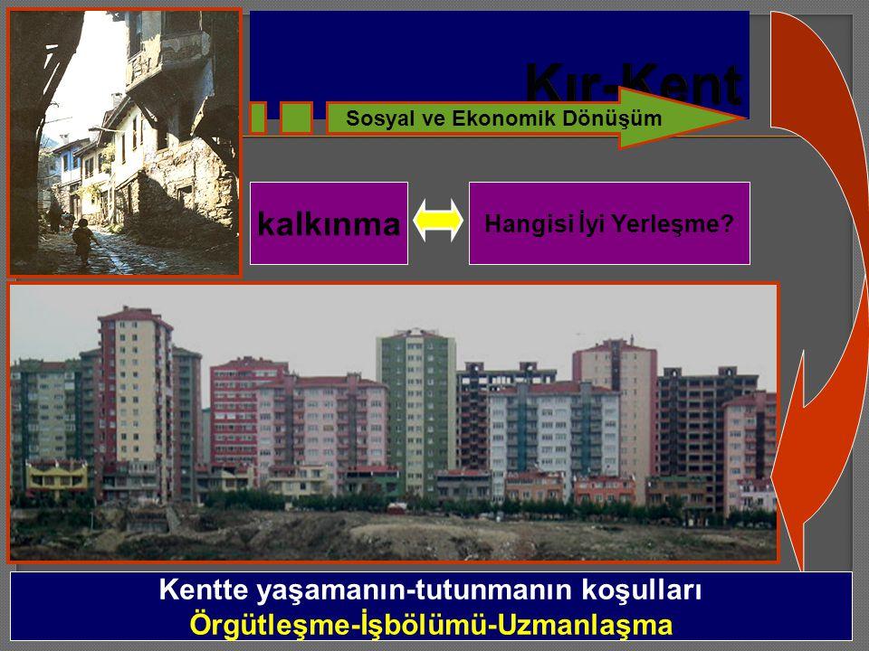 Hangisi İyi Yerleşme? Kentte yaşamanın-tutunmanın koşulları Örgütleşme-İşbölümü-Uzmanlaşma Sosyal ve Ekonomik Dönüşüm kalkınma