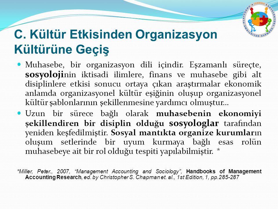 C.Kültür Etkisinden Organizasyon Kültürüne Geçiş Muhasebe, bir organizasyon dili içindir.