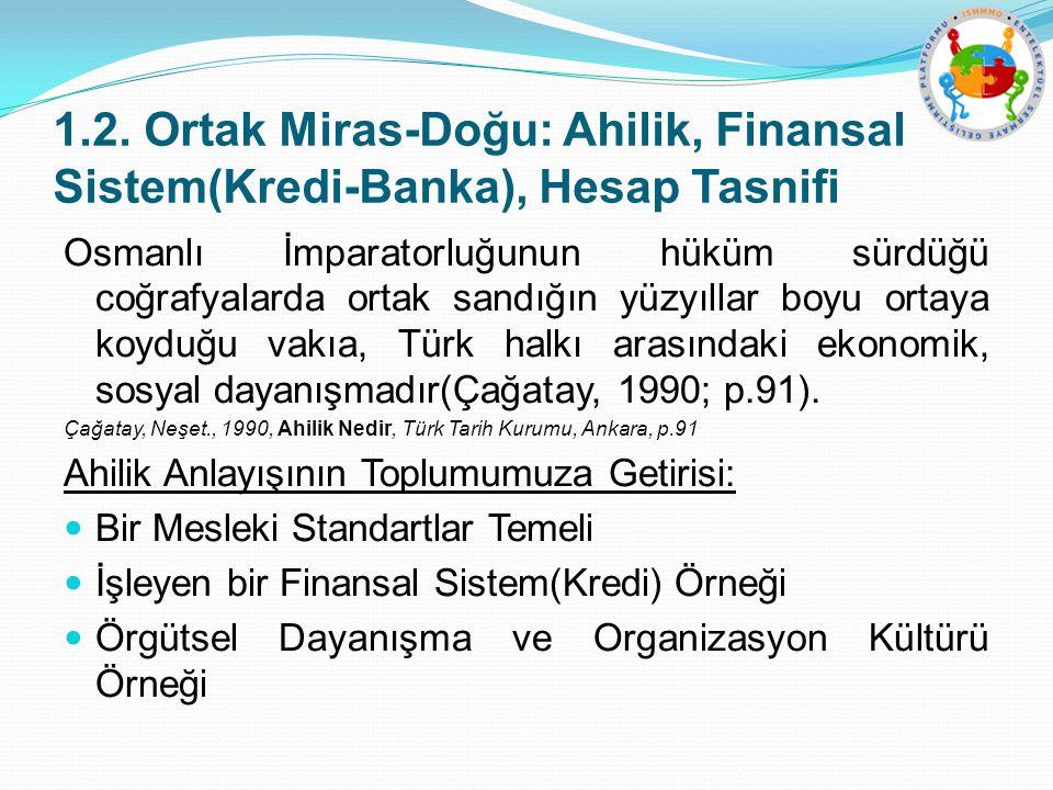 1.2. Ortak Miras-Doğu: Ahilik, Finansal Sistem(Kredi-Banka), Hesap Tasnifi Osmanlı İmparatorluğunun hüküm sürdüğü coğrafyalarda ortak sandığın yüzyıll
