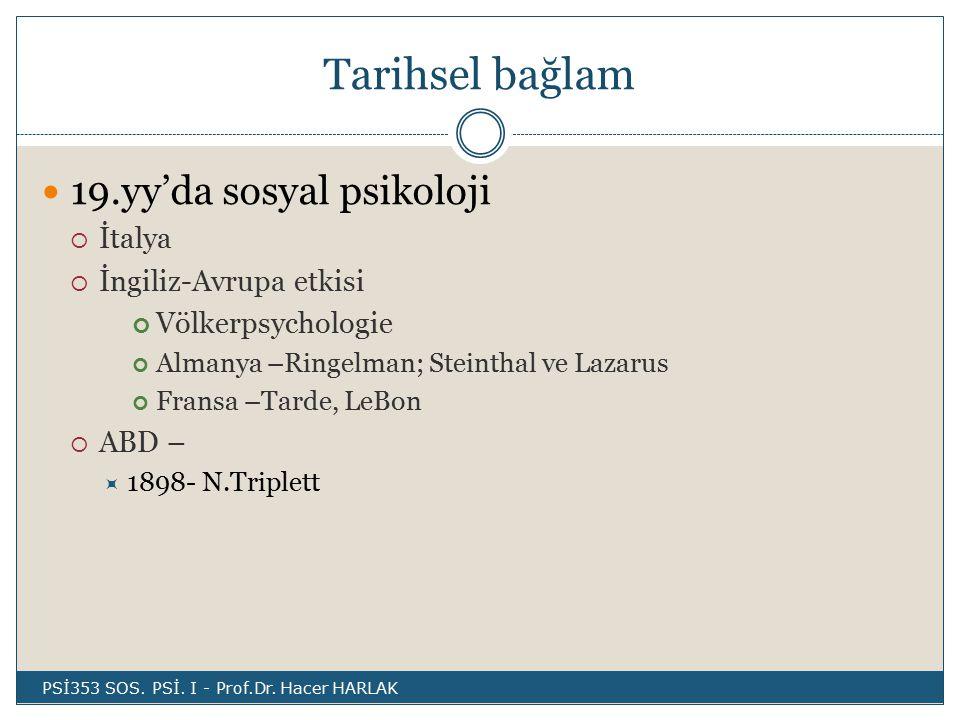 Tarihsel bağlam 19.yy'da sosyal psikoloji  İtalya  İngiliz-Avrupa etkisi Völkerpsychologie Almanya –Ringelman; Steinthal ve Lazarus Fransa –Tarde, LeBon  ABD –  1898- N.Triplett PSİ353 SOS.