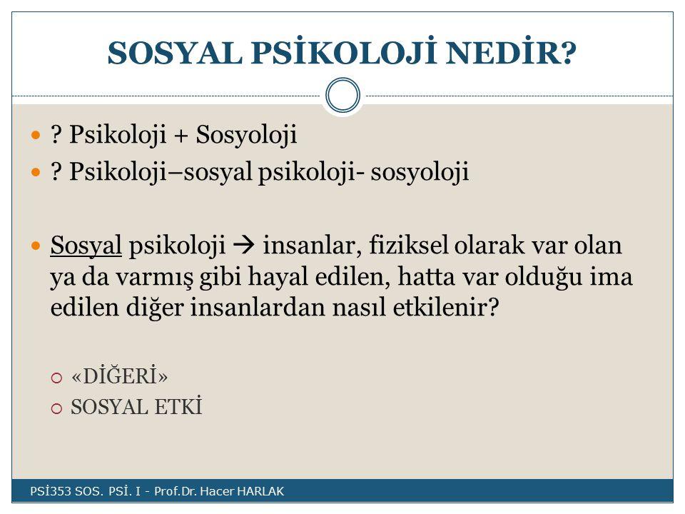 SOSYAL PSİKOLOJİ NEDİR.Psikoloji + Sosyoloji .