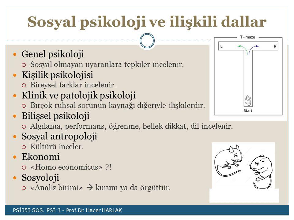 1950 – '60'lar  Benlik saygısı, önyargı, konformite, tutum değişimi ve ikna, kişilerarası çekim, mahrem ilişkiler, gruplararası ilişkiler 1970'ler  Avrupa'da  grup içi etki süreçleri, azınlık çalışmaları (Doise, 1978; Moscovici, 1980; Tajfel, 1978)  Davranışçılıktan  bilişsel yaklaşıma kayma PSİ353 SOS.