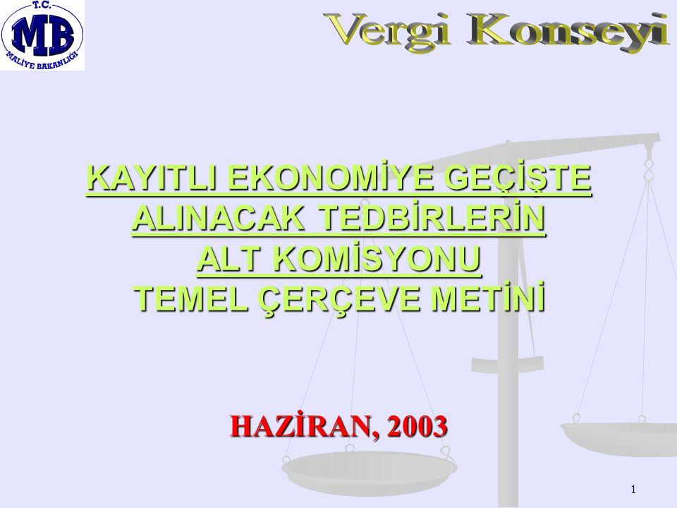 1 KAYITLI EKONOMİYE GEÇİŞTE ALINACAK TEDBİRLERİN ALT KOMİSYONU TEMEL ÇERÇEVE METİNİ HAZİRAN, 2003