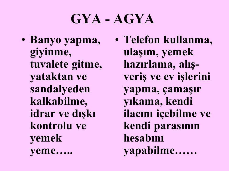 GYA - AGYA Banyo yapma, giyinme, tuvalete gitme, yataktan ve sandalyeden kalkabilme, idrar ve dışkı kontrolu ve yemek yeme….. Telefon kullanma, ulaşım
