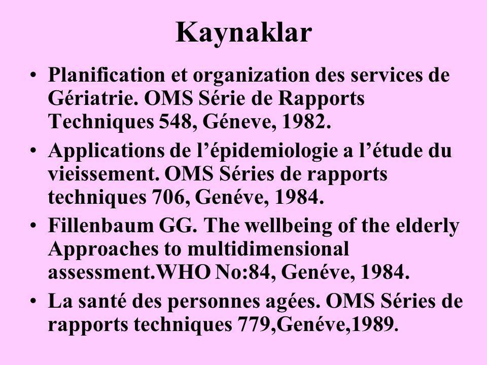Kaynaklar Planification et organization des services de Gériatrie. OMS Série de Rapports Techniques 548, Géneve, 1982. Applications de l'épidemiologie