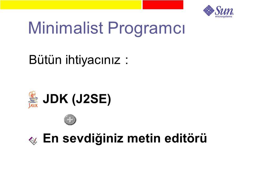 Minimalist Programcı Bütün ihtiyacınız : JDK (J2SE) En sevdiğiniz metin editörü